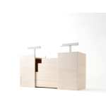 « Picnic box Kotoli » box. Nendo for Ruinart. Bottle of Ruinart champagne, two champagne glasses and their holder in a transportable box. By command, 165€. http://www.ruinart.com