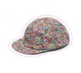 Panel cap in flowered babycord by Larose.