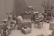 Installation, space with objects covered with clay mud by Chen Zhen© Sebastiano Pellion di Persan
