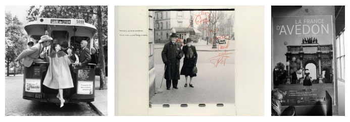 Photo1 : Audrey Hepburn, Mel Ferrer et Buster Keaton © The Richard Avedon Foundation /Photo2: J H Lartigue © Ministère de la Culture - France / AAJHL Photo 3 : Livre La France D'Avedon © Françoise Spiekermeier