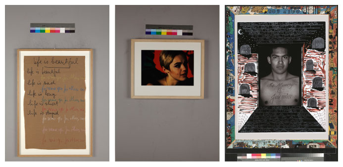 photo 1 Robert Filliou, Life is beautiful - photo 2 Nat Finkelsetin, Edie Sedgwick and red flower - photo 3 Denis O. Callwood Jasmine, Courtesy Collection Agnès b - PLUMEVOYAGE @plumevoyagemagazine