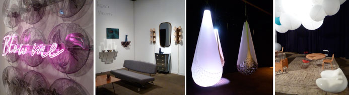 Blow Me by Sebastien Erazzuriz; booth of the Casati Gallery (Chicago), light installation by David Trubridge