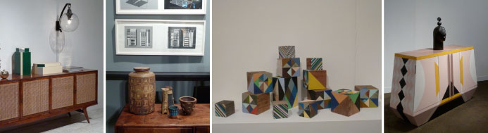 Set of modernist Ceramics, Mark McDonald gallery, colored boxes from R20th Century , furniture signed by Dokter and Misses at Southern Guild