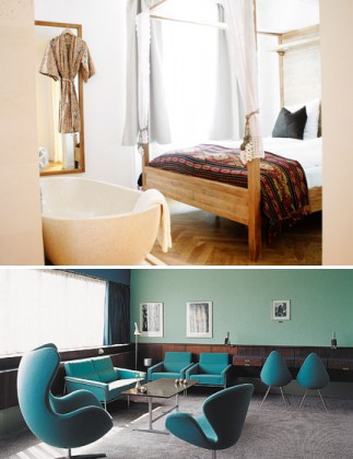 PHOTO 1 : Boutique hôtel Guldsmeden, Vesterbro / PHOTO 2 : Chambre 606 de SAS Royal Hotel, conçue par Arne Jacobsen