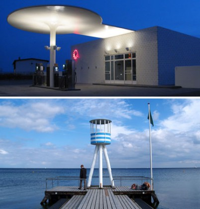 ARNE JACOBSEN / PHOTO 1 : Oresund road, l'impressionnante station service dessinée par l'architecte / PHOTO 2 : Le ponton de Klampenborg, le lotissement Bellavista