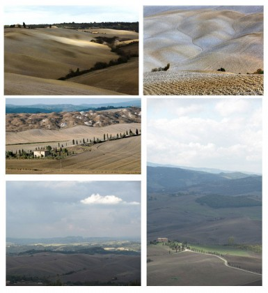 From left to right and top to bottom, photo 1: Softness of the Crete Senese © DR 2: The Fall and its palette of browns and grays © DR, 3: All shades of Sienna in one landscape © DR , 4: Cypresses like exclamation points © DR, 5: View from Pienza © Béatrice Delamotte, and 6: View from the terrace of the Villa Gicaber in Chianni, member of Ville in Italia © Béatrice Delamotte