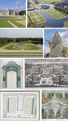 From left to right and top to bottom, Photo 1: The Castle © Garry Otte:, 2: Aerial view © JL Aubert, 3: Gardens © Garry Otte, 4: statues of Le Nôtre © Jean Louis Aubert, 5, 6, 7 and 8: Engravings of the castle and its gardens