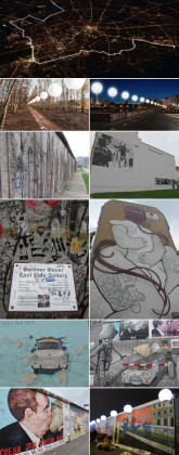 Photo 1 : Visualisierung, Photo 2 : LICHTGRENZE Park am Nordbahnhof, Photo 3 : LICHTGRENZE Brandenburger Tor © Kulturprojekte Berlin, Christopher Bauder, Photo Daniel Bueche. Photo 4, 5, 6, 7, 8, 9, 10 & 11 : Berlin Wall © Ludovic Bischoff.
