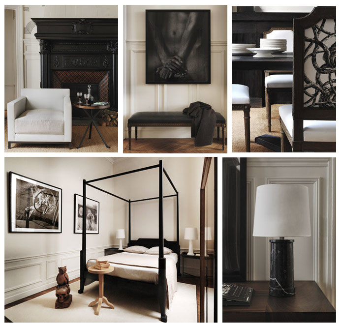 From left to right and top to bottom: Photos 1, 2 , 3 , 4 and 5: Oxymores - © Gilles & Boissier / 1: club chair & table, 2: bench and rug, 3: dining chairs detail, 4: bedroom wide and 5: Black marble lamp.
