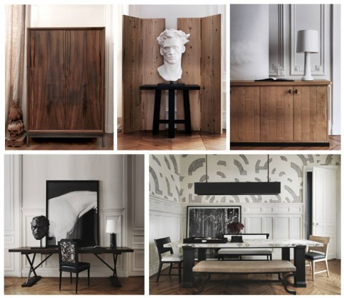 From left to right and top to bottom: Photos 1, 2 , 3 , 4 and 5: Oxymores - © Gilles & Boissier / 1: wood cabinet, 2: Head and screens, 3: plaster lamp, 4: console table and 5: conference table