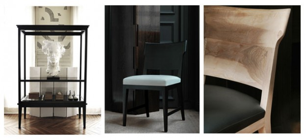 From left to right: Photos 1, 2 and 3: Oxymores - © Gilles & Boissier / 1: Cataloque - vitrine, 2: black chair and 3: wooden chair detail