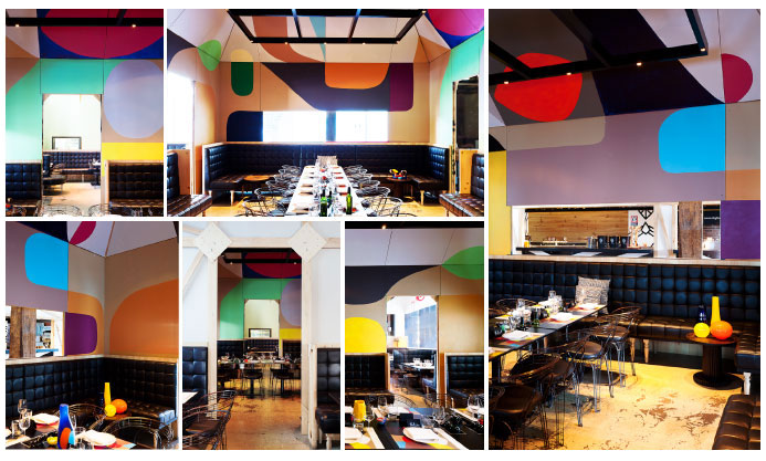 Neild Avenue Restaurant in Sydney : old tire factory, made up of rusty brick and steel transformed into a restaurant and decorated by Anthony Lister and Stephen Ormandy