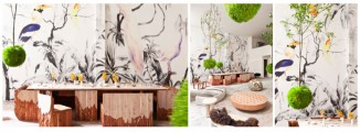 Monolith table by New York designer Alex Gil and the lush 'Tropical Birds' wallpaper designed by Argentine born: exhibited at the Boffo showroom in NYCMonolith table by New York designer Alex Gil and the lush 'Tropical Birds' wallpaper designed by Argentine born: exhibited at the Boffo showroom in NYC