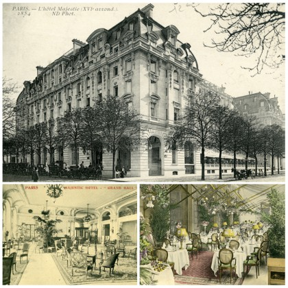 Photo 1: Histoire Exterieur, L'hôtel Majestic, Courtesy L'hôtel Peninsula Paris. Photo 2: Histoire Lobby, L'hôtel Majestie, Courtesy L'hôtel Peninsula Paris. Photo 3: Histoire Terrasse, L'hôtel Majestie, Courtesy L'hôtel Peninsula Paris.
