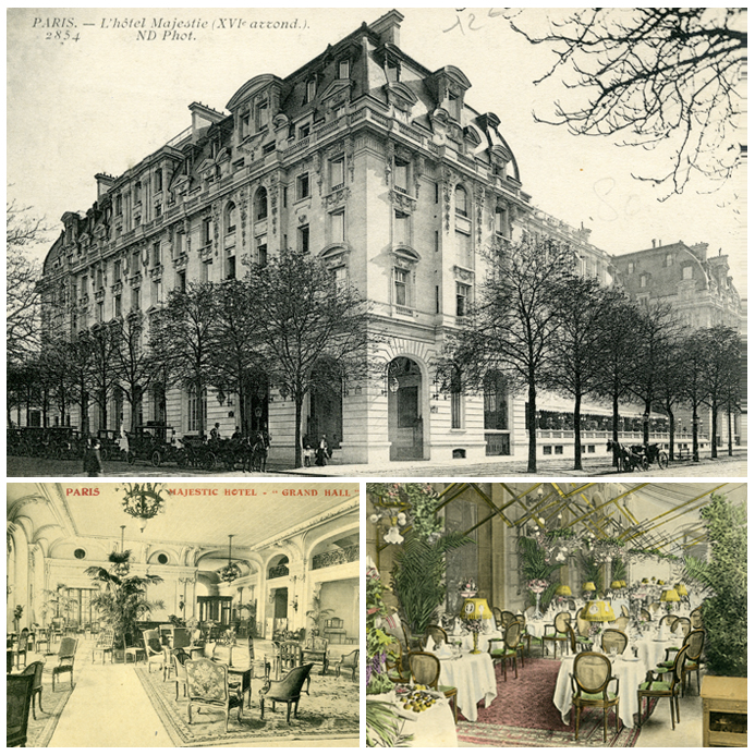 Photo 1: History of the Exterior, The Majestic Hotel, Courtesy of The Peninsula Hotel Paris. Photo 2: History of the Lobby, The Majestic Hotel, Courtesy of The Peninsula Hotel Paris. Photo 3: History of the Terrace, The Majestic Hotel, Courtesy of The Peninsula Hotel Paris.