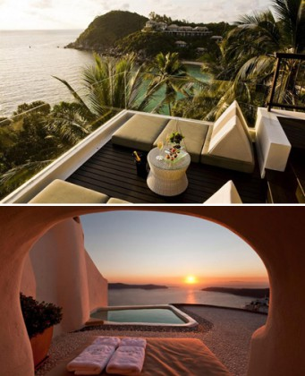 Photo 1: Banyan Tree Samui, Photo 2: Hôtel Kapari Santorin. Courtesy Hôtels Chéris