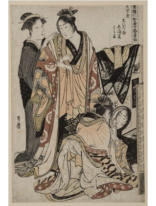 Kitagawa Utamaro, Two Geisha Preparing for a Fancy Dress Procession Wadsworth. c'est maintenant février 2017 PLUMEVOYAGE @plumevoyagemagazine © Atheneum Museum of Art Gift of Mrs. Jared K. Morse