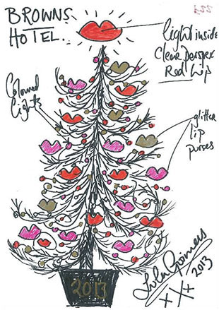 Lulu Guinness decorates the Christmas tree at Brown's in London