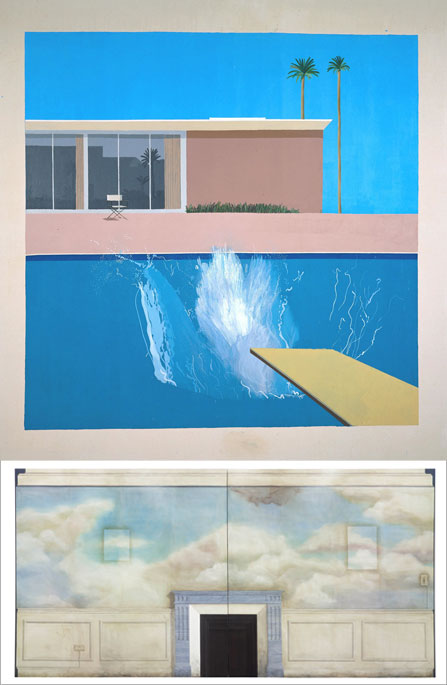 1-©Tate - David Hockney a biggers plash 1967 © David Hockney 2010 / 2-Tate - Lucy McKenzie, May of Teck 2010 © Lucy McKenzie