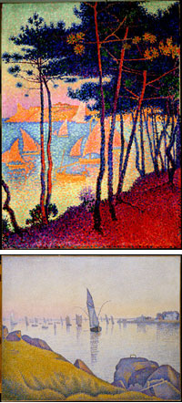 Exhibition Giverny:  «Signac, the colours of the water» at the Museum of Impressionism, Giverny / Signac Voiles et pins © DR / Signac Concarneau, Calme du soir © DR