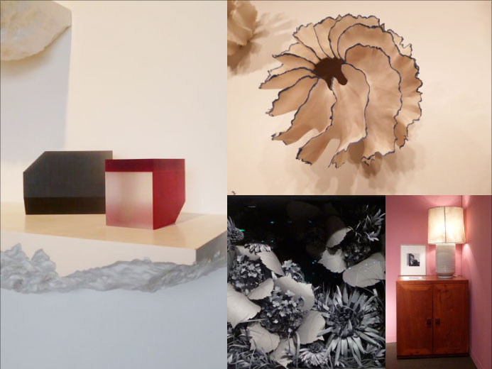 Shelf Snarkitecture at Grey Area; Vase by Sandra Davolio at J. Lohmann Gallery; Paper composition by Lauren Fensterstock in Sienna Patti, furniture designed by Luis Barragán at Sebastian + Barquet