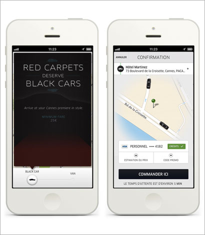 iPhone App: The Private Driver Uber application will be at Cannes until May