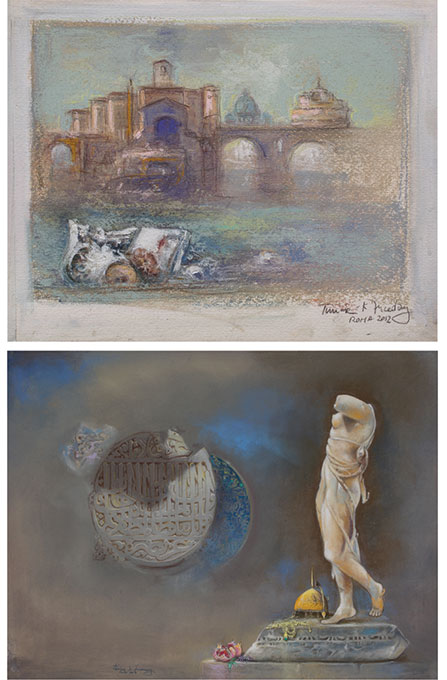 « Timur Kerim Incedayi, retrace the history of Rome and Istanbul » at the Museum of Contemporary Art, Rome. Photo 1: L'isola Tiberina, Photo 2: La luna nascente. Courtesy of Museum of Contemporary Art