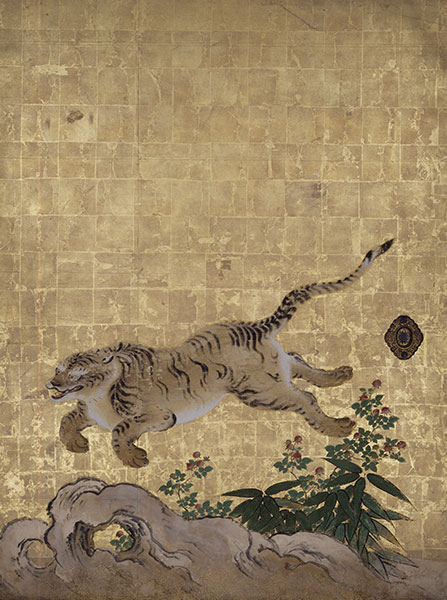 «Ink and Gold: Art of the Kano» at the Philadelphia Museum of Art, Philadelphia. Kano Tan'yu (1602 - 1674). Tigers in a Bamboo Grove (detail) mid-1630s. Nanzen-ji Temple, Sakyo-ku, Japan. Important Cultural Property.