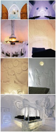 Spend a night in the only ice-hotel in America. Photo 1, 2, 3, 4, 5, 6: Hotel de glace © Ludovic Bischoff. Photo 7: Hotel de glace © Renaud Philippe. Courtesy of Hotel de glace