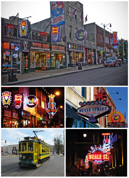 Take a stroll down Beale Street, the birthplace of rhythm and blues! Memphis Beale street © Ludovic Bischoff
