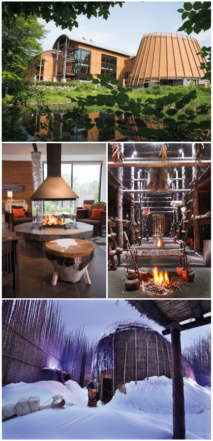 Visit Wendake, Quebec's First Nations Village. Photo 1: JP Rivard. Photo 2: Lobby, JelBé. Photo 3, 4: Maison Longue © Louise Bilodeau. Québec Canada. Courtesy of Tourisme Wendake