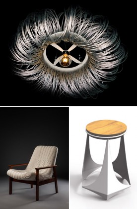 Photo 1: Finding the Perfect, Donut, Ralf Frickel, Netherlands. Photo 2: Tranca Chaise, Regina Misk, Bresil. Photo 3: Alvorada Bench, Sartto Design, Bresil. Courtesy Galerie Joseph Paris