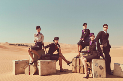 Etihad ou l'esprit Mad Men, uniformes Etihad. Courtesy Etihad