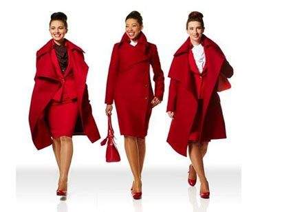 Virgin Atlantic version couture, uniformes Virgin Atlantic. Courtesy Virgin Atlantic