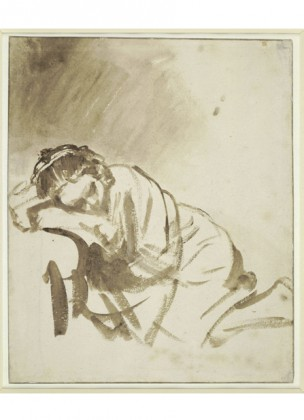 X7943, Rembrandt, A Young Woman Sleeping (Hendrickje Stoffels), vers 1654. The British Museum, Londres © The Trustees of The British Museum