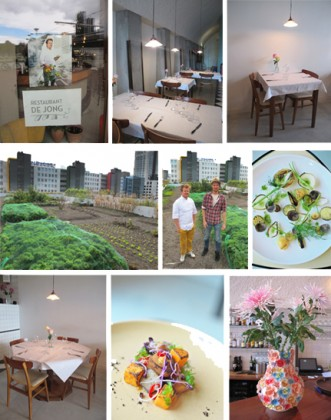 From top to bottom and left to right: Photos 1, 2, 3, 7 and 9: Interior of the restaurant of Jong. 4 and 5: Kitchen garden on the rooftop. 6 and 8: Dishes © Ludovic Bischoff
