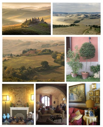 From left to right and top to bottom, photo 1: Overview of the Crete Senesi © DR, 2: Around Siena © DR 3: The softness of the evening shades near Siena © DR, 4: red walls, softened by the laurels © Béatrice Delamotte, 5: the magic of a medieval fresco with broken tones © Béatrice Delamotte, 6: Warm atmosphere of the Villa Lambertino near Castello d'Argiano © Béatrice Delamotte and 7: a simple purple cushion to illuminate a room © Béatrice Delamotte