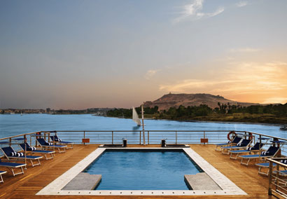 Sun Deck & pool, The Oberoi Zahra, Luxury Nile Cruiser