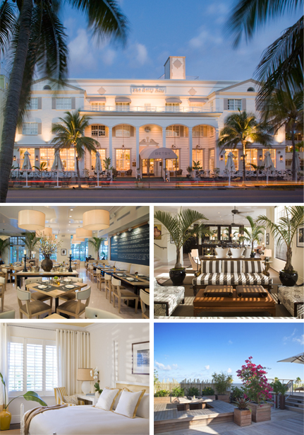 The Betsy Hotel supports artists and offers rooms for all writers and poets who want it. Photo © Betsy Hotel. Photo 1: The Betsy at Dusk, Miami. Photo 3: The Betsy Lobby, Miami. Photo 2 & 4: Betsy Interiors, Miami. Photo 5: Deck, Betsy Hôtel, Miami.