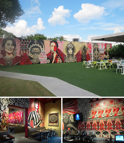 Photo 1 & 3 : A delicious restaurant and an open-air museum of street art : these are the Wynwood Walls. Photos by Ludovic Bischoff Photo 2 : Collage mural by Shepard Fairey in bar; Christian Awe oversized canvases in dining room @ WKB by Moris Moreno