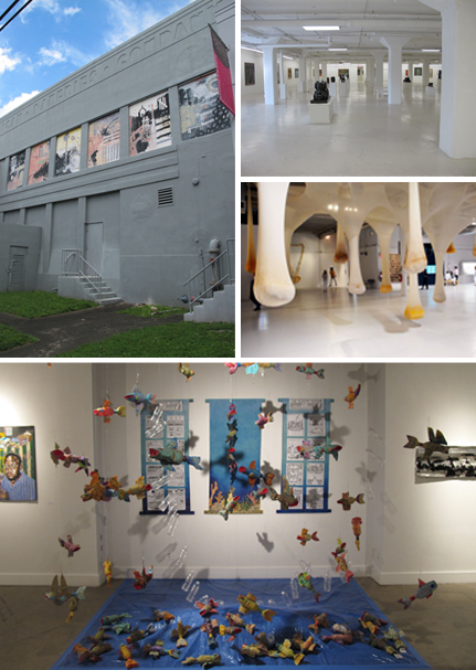 Numerous art galleries have opened in the old warehouse district of Wynwood, Miami. Photos by Ludovic Bischoff. Photo 3 : Margulies Warehouse, Wynwood, Miami. Photo 1 & 4 : Bakehouse art Complex, Wynwood, Miami. Photos by Ludovic Bischoff.