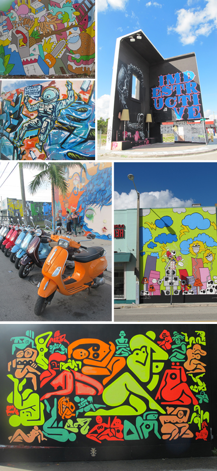 To understand the story of street art in Miami, go visit the Wynwood Art District on a Vespa. Photos by Ludovic Bischoff