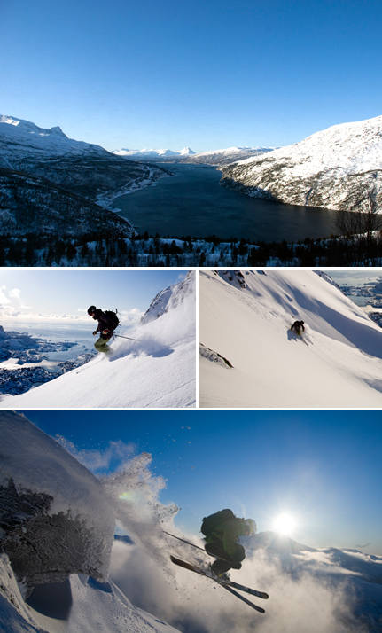 In Narvik, one can access the ski slopes from the city center and hit the snowy tracks overlooking the fjords. Photo 1: Togtur,©destination Narvik Photo 2 & 3: Skiing down snowy slopes, Espen Mortensen Photo 4: Skii jump, photo by Ludovic Bischoff