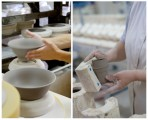 Photo 1: Shaping clay in the Revol workshop Photo 2: Crumpled Cups in the making, Revol