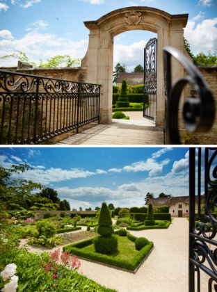 The spring gardens at the Chateau de Pommard