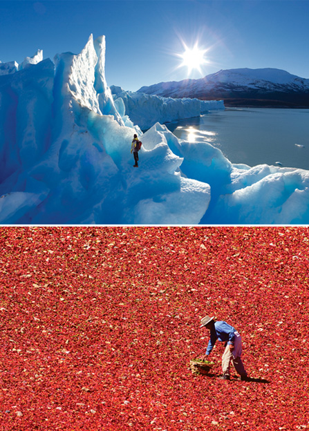 Photo 1: Argentina Glacier Perito Moreno, Santa Cruz Province, Photo 2: Argentina, Chili, Calchaquies Valleys, Province of Salta. © Florian von der Fecht