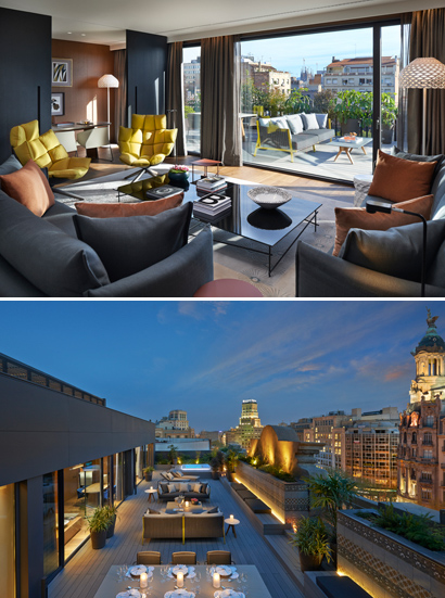 Photo 1: Premier Terrace Suite Living Room, Photo 2: Premier Terrace Suite, Mandarin Oriental, Barcelona. Courtesy of Mandarin Oriental