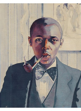 Smoking My Pipe, 1934, by Samuel Joseph Brown, Jr. Public Works of Art Project, on long-term loan to the Philadelphia Museum of Art from the Fine Arts Collection, U.S. General Services Administration