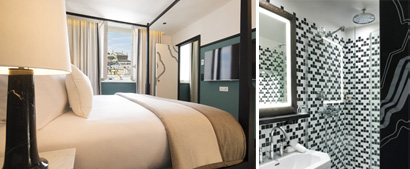 Photo 1: Christophe Bielsa Suite, Photo 2: Bathroom, Paul Bowyer, Latest design by Gilles & Boissier. Courtesy of The Chess Hotel
