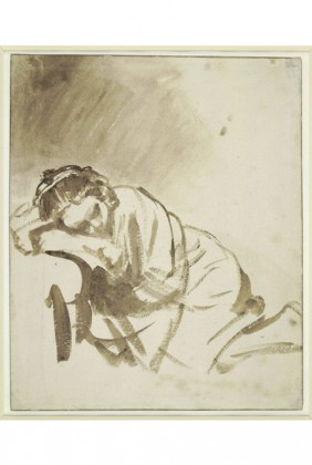 X7943, Rembrandt, A Young Woman Sleeping (Hendrickje Stoffels), about 1654, The British Museum, London © The Trustees of The British Museum